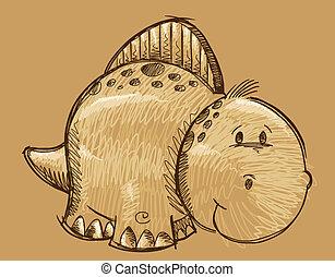 Cute Doodle Sketch Dinosaur vector