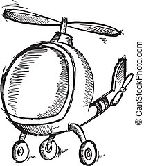 Cute Doodle Sketch Helicopter