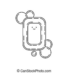 Cute doodle soap with smile and bubbles, vector