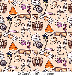 Cute doodles vector pink seamless pattern.