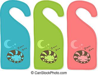 Cute door hanger with sleeping cat, three color versions.