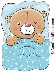 cute, dormir, caricatura, urso, pelúcia