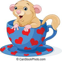 Cute dormouse - Cute dormouse sitting in a teacup
