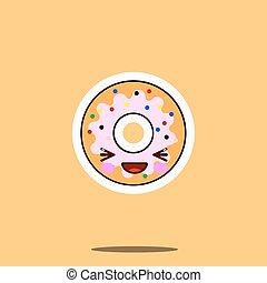 Cute doughnut cartoon character happy smile kawaii face food.