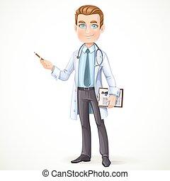 cute, doutor masculino, em, um, avental, com, um, estetoscópio, e, história médica, ligado, a, documento, tabela, mostra, a, lado, lápis