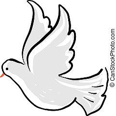 Cute dove flying, illustration, vector on white background.
