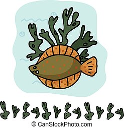 Cute dover sole with seaweed cartoon vector illustration motif set. Hand drawn edible fish elements clipart for ocean life blog, marine graphic, wildlife web buttons.