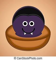 Cute dracula face cartoon