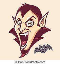 Cute Dracula Head and Bat Illustration Vector in Cartoon Style