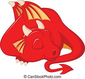 cute, dragão, caricatura, dormir