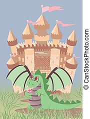 Cute dragon and magic castle