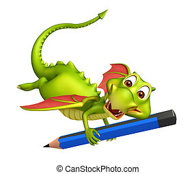 cute Dragon cartoon character with pencil