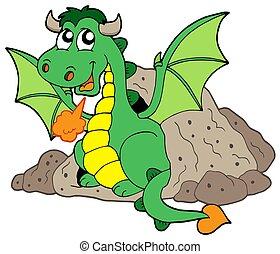 Cute dragon in cave