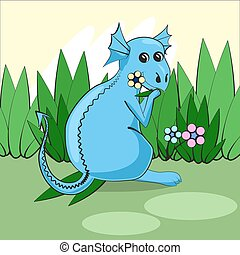 Cute dragon sitting on a green meadow with flowers and eats grass. Vector