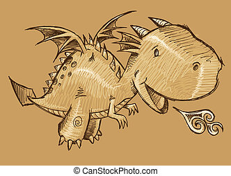 Cute Dragon Sketch Vector Art