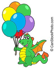 Cute dragon with balloons