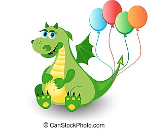 Cute dragon with colorful baloons
