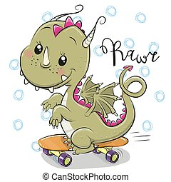 Cute Dragon with skateboard on a white background