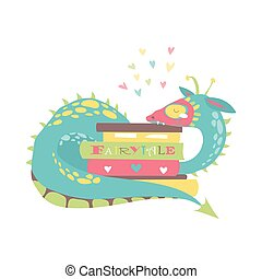 Cute dragon with stack of books