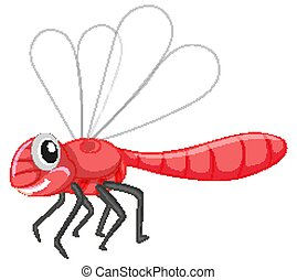 Cute dragonfly in red color on white background