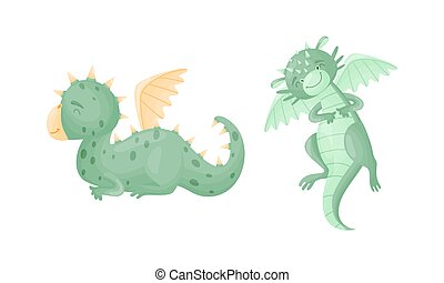 Cute Dragons as Horned and Winged Four-legged Creature from Fairytale Vector Set. Funny Baby Beast Flying Concept