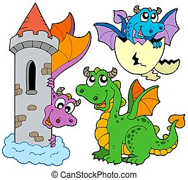 Cute dragons collection - isolated illustration.