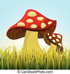 cute drawing fairy mushroom