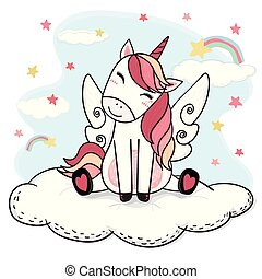 cute drawing happy smile unicorn in pink with angle wing sit on fluffy cloud rainbow and stars