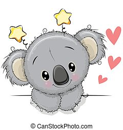 Cute Drawing Koala on a white background