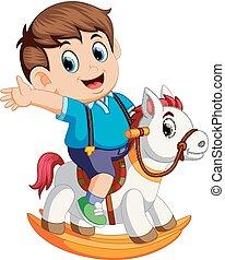 cute, dreng, på, en, legetøj hest