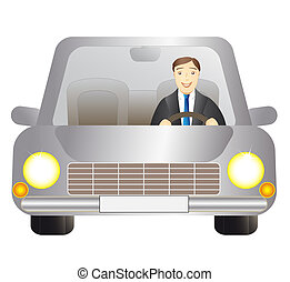 cute driver man in silver car on white background