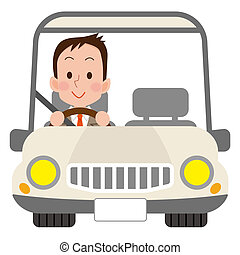 cute driver man in white car on white background