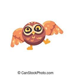 Cute drunk brown owl flat icon