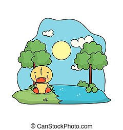 cute duck bird in the landscape