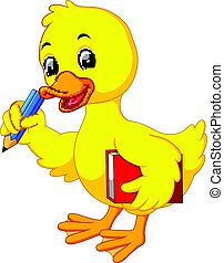 Cute duck carrying book and pencil - illustration of Cute...