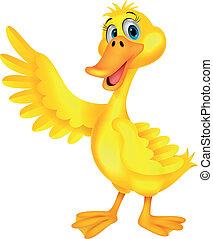 Cute duck cartoon waving - Vector illustration of Cute duck...