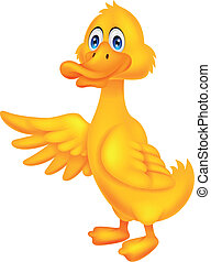 Cute duck cartoon waving - Vector illustration of Cute duck...