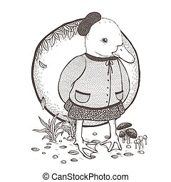cute duck coloring page
