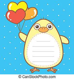 cute duck of scrapbook background.