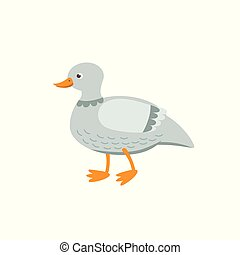 Cute duck vector flat illustration isolated on white background. Farm animal duck cartoon character.
