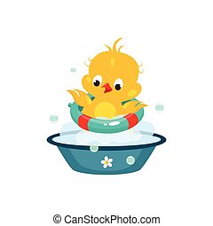 Cute Duckling in Bathroom. Vector Illustration