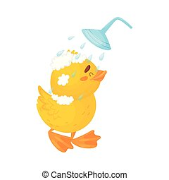 Cute duckling in the shower. Vector illustration on a white background.