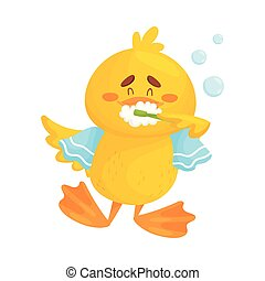 Cute duckling is brushing his teeth. Vector illustration on a white background.