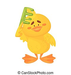 Cute duckling is combing. Vector illustration on a white background.
