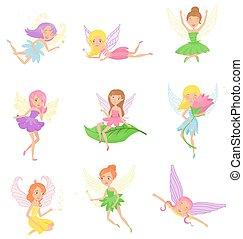 cute, duende, cabelo, desenho, orelhas, criaturas, wings., diferente, meninas, livro, impressão, apartamento, coloridos, fadas, dresses., cobrança, pequeno, criança, magia, fairytales., fictional, vetorial, ou