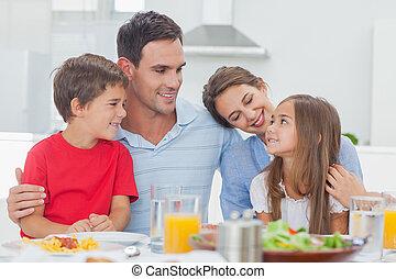 cute, durante, jantar, família