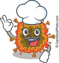 Cute duvinacovirus cartoon character wearing white chef hat