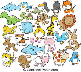 cute, dyr, vektor, formgiv elementer