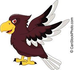 Cute Eagle cartoon flying