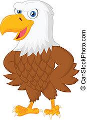 Cute eagle cartoon posing